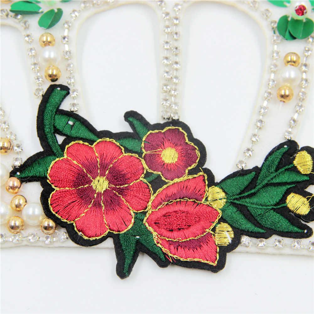 Цельнокроеное платье из жемчужные бусины корона патч швейная ткань Стикеры для значок вышитые аппликации DIY