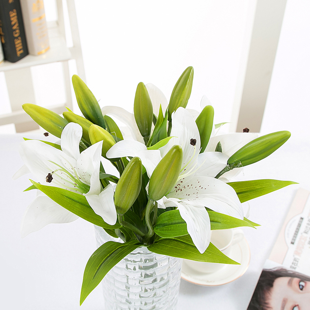 Artificial lily flowers branch for home wedding festival decoration artificial lily flowers branch for home wedding festival decoration fake silk flores white flower in artificial dried flowers from home garden on izmirmasajfo