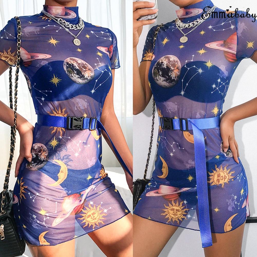 Sexy Summer 2019 Brand New Women Star Planet Print See Through Mesh Bodycon Short Sleeve Party Clubwear Mini Skinny Pencil Dress