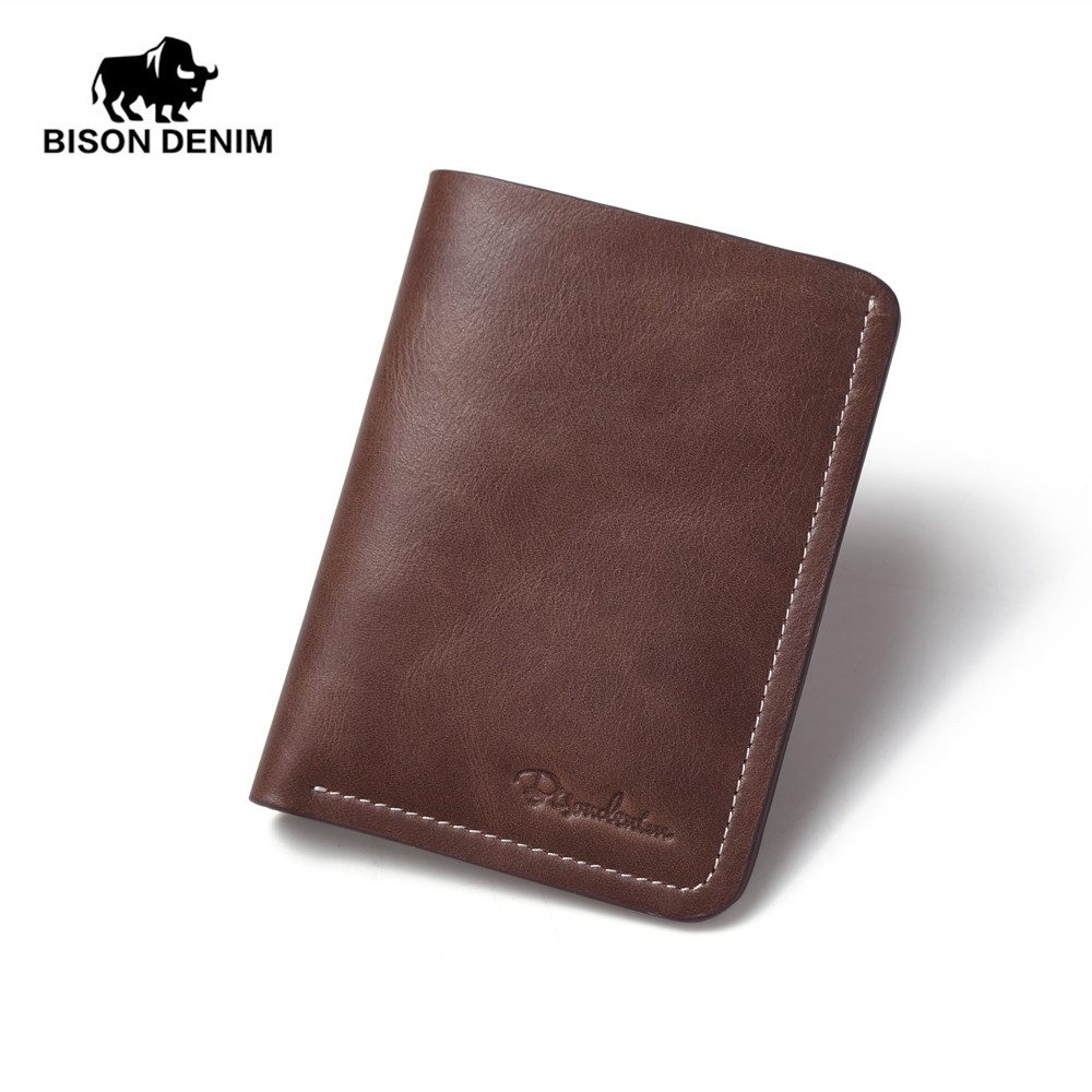 BISON DENIM chocolate vintage 100% Genuine Leather Top Layer Wallet For Men Mini slim small purse for men Clutch N4386-2U bison denim vintage designer 100