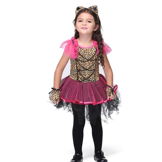 На Продажу Новый Довольно Leopard Cat Дети Косплей Hallowean Костюмы для Детей Партия Этап Животных Карнавальных Костюмов Платье Бальные Платья