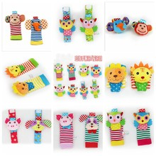 Soft Infant Baby Rattles Toys Socks Rattles Plush Rattle Toys Wrist Foot Socks Hand Bell Animal Rattle And Foot Socks Plush Toy(China)