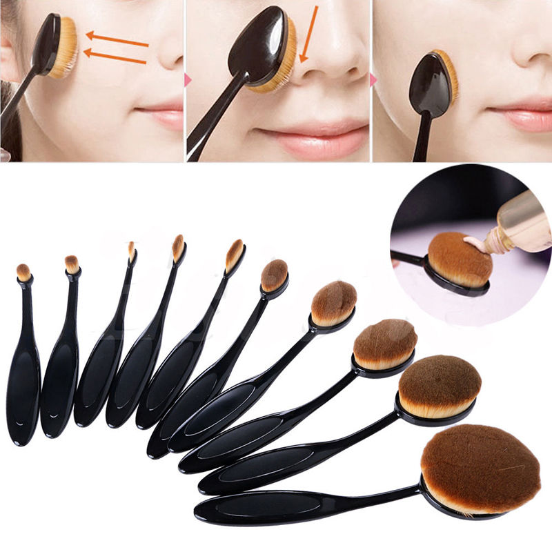 10pcs/set Tooth Brush Shape Oval Toothbrush Makeup Brush Set Professional Foundation Powder Brush Kits Dfdf лонгслив name it name it na020ebxlp27