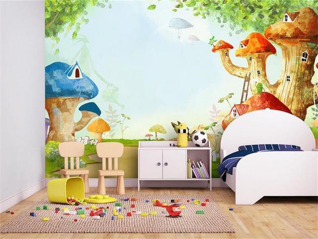 Kids Room Wallpaper Custom 3d Photo Mural Fairy Mushroom House 3d Photo Painting Kids Room Non
