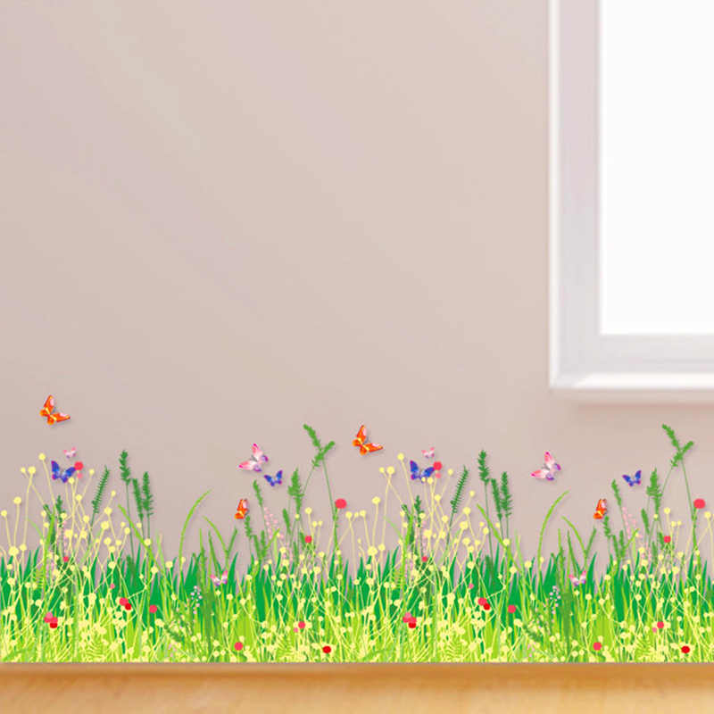 aw 3d wall stickers home decor butterfly with green grass removable
