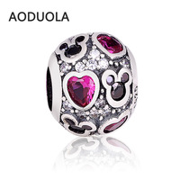 925 Silver Plated Round Shape DIY Rhinestones Metal Alloy Beads Charms Big Hole Charm Bead Fit