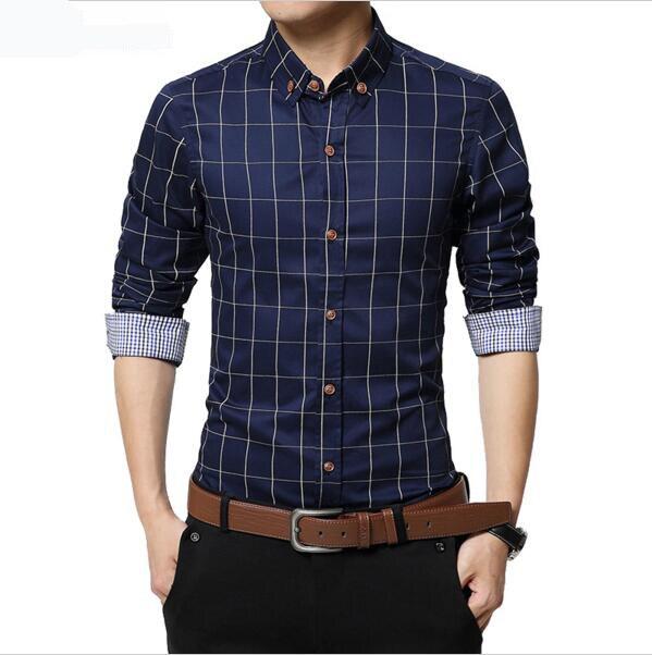 2017 Otoño Nueva Marca de Moda hombres Camiseta Slim Fit Hombres de Largo  Camisa de Tela Escocesa de Los Hombres de Algodón Casual Hombres Camisas de  Vestir ... 30760e02e0b
