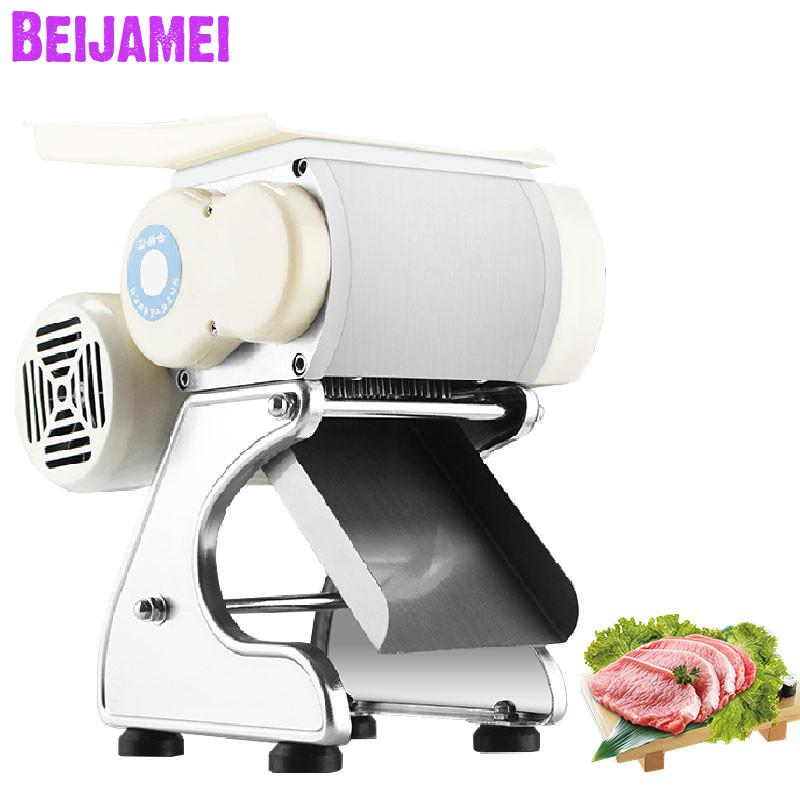 BEIJAMEI New Arrival 220V Electric Meat Slicing Machine 160 Kg/h Commercial Meat Slicer Meat Shred For Sale