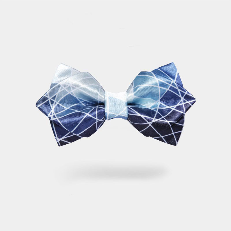New Free Shipping FASHION male MENS 2017 Blue Printing Beam Starry Double Manual Grooms Best Man Hosting Wedding Bow Retro