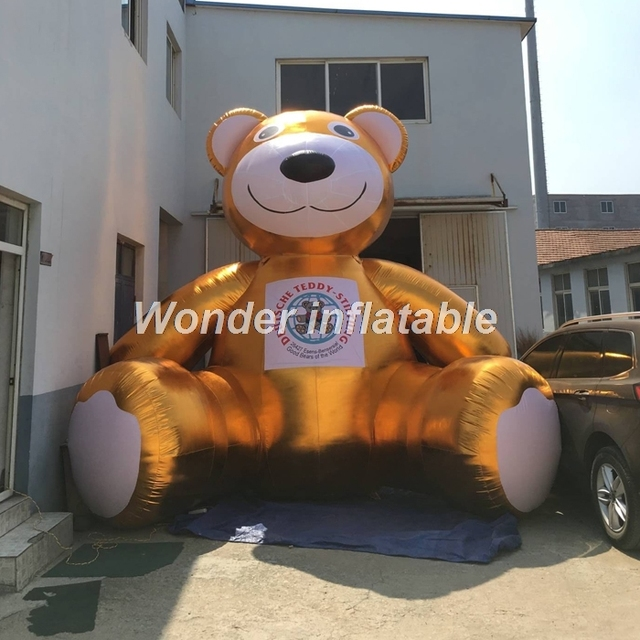 New design 3m golden giant inflatable bear inflatable characters for advertising