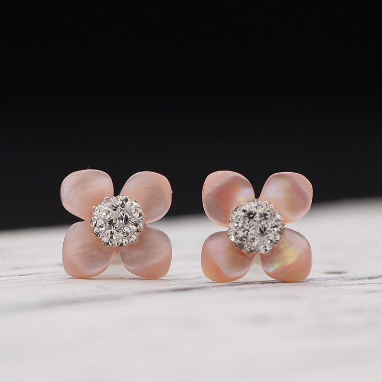 AlooWay The new spring and summer 925-silver-pin natural shell flower earrings so beautiful 0.8*0.8cm