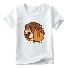 Baby Boys and Girls Cartoon Pug Dog Pancakes Food Print T Shirt Kids Funny T-shirt Children Summer White Tops  Kids Costume