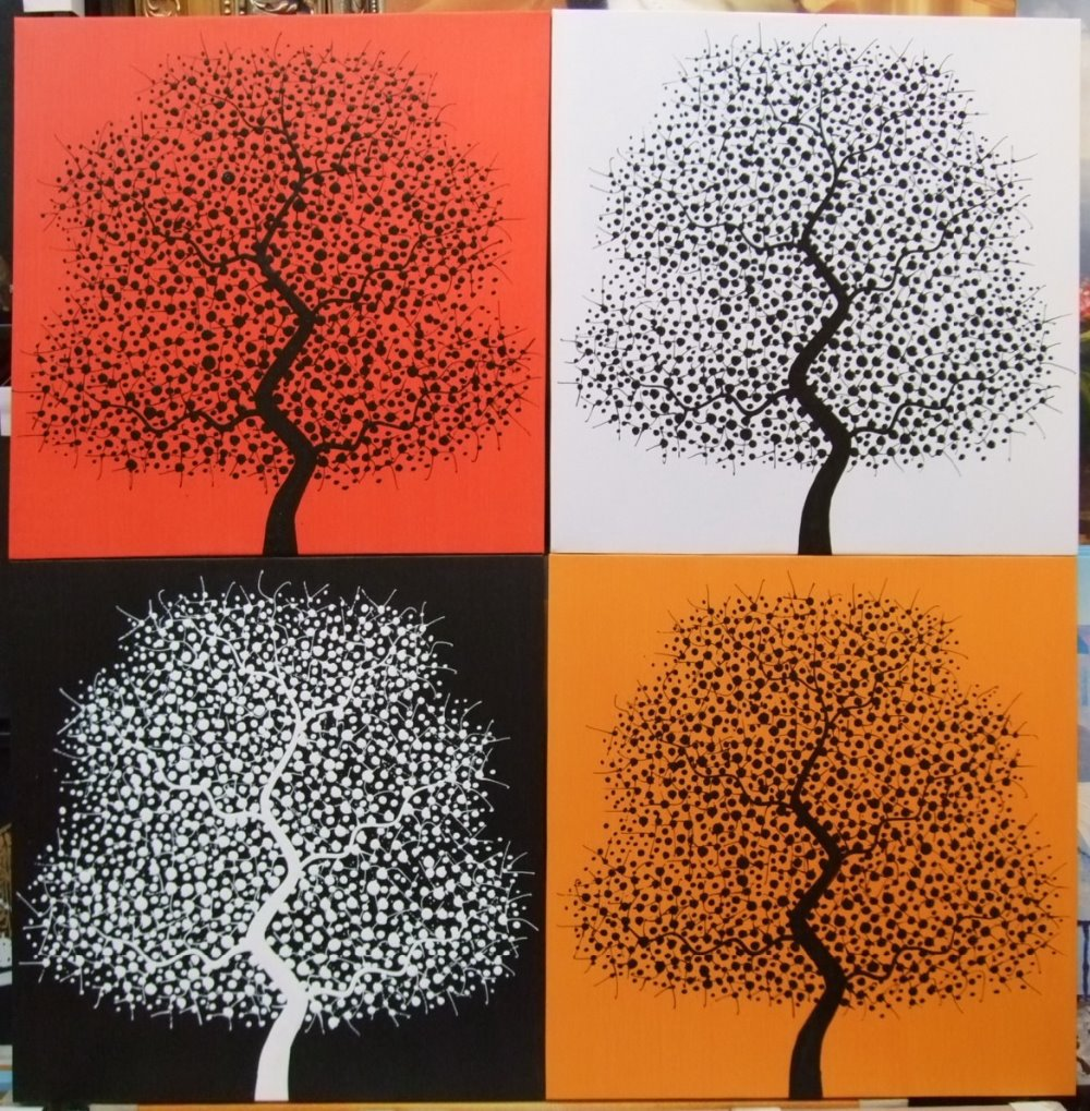 Handpainted 4 Pieces Absract Still Life Black White Red Orange Tree Canvas Painting Modern Pictures For Home Decoration In Calligraphy From