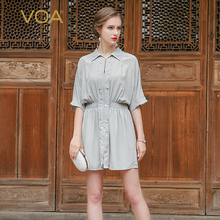 VOA Summer new 2017 whirt color pure silk crepe fabric blouse female half sleeve casual slim