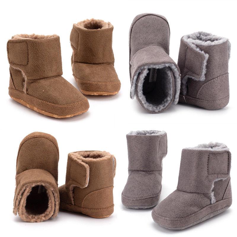 Khaki Newborn Baby Toddler Infant Crib Girl Shoes Cute Snow Cotton Boots 6-24M