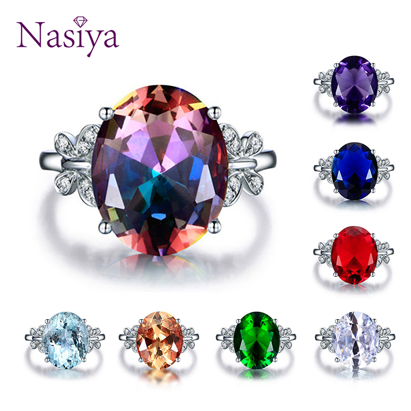 Fashion Multicolor Gemstone Wedding Rings High Quality Spine Ring For Sale Women's Silver 925 Jewelry Ring Size 5-10 7 Colors