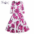 Nemidor 2017 Women Elegant Half Sleeve A-line Swing Dress Print O-neck Plus Size Midi Party Retro Dress