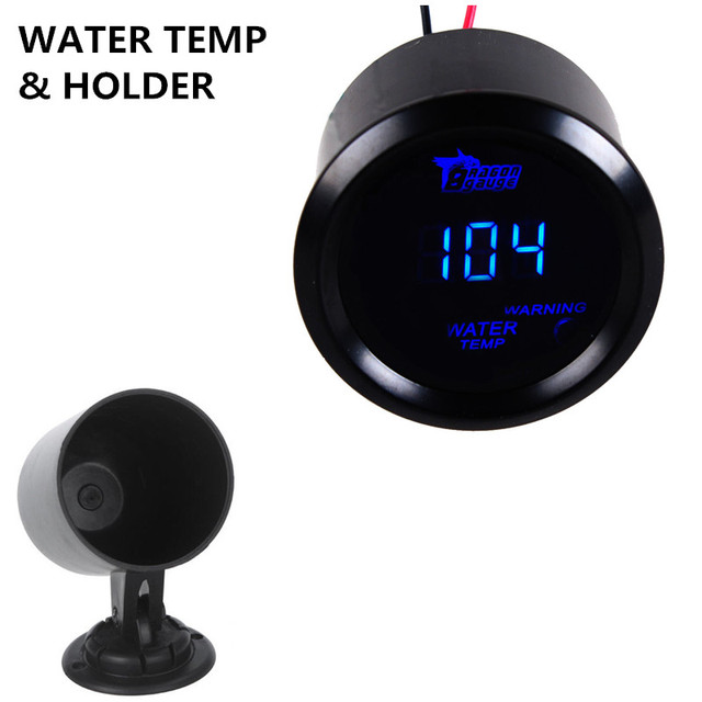 "Apoyo EE 2 ""52mm Shell Negro Auto Car Blue LED Medidor de Temperatura del Agua Digital Fahrenheit F Reloj + Holder XY01"