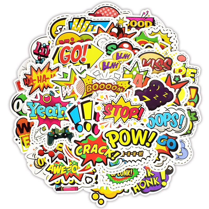 50 PCS Pop Style Text Sticker Toys For Children Creative Buzzword Hip-pop Stickers Gadgets Gift To DIY Scrapbook Laptop Suitcase