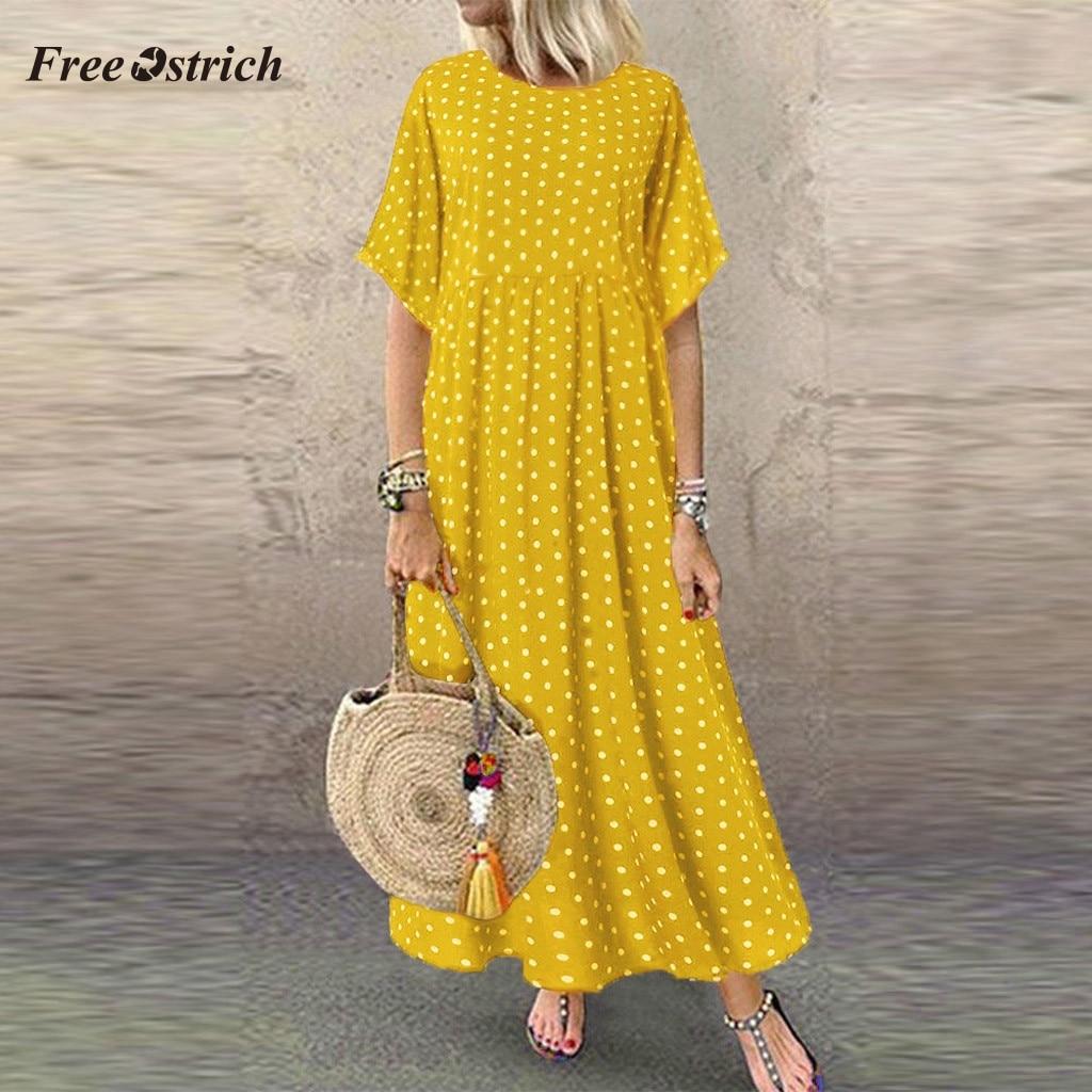 Free Ostrich Plus Size Dress Women Floral Printed Split Long Maxi Dress Short Sleeve Dot Peinted Casual Dress Bohemian Vestidos