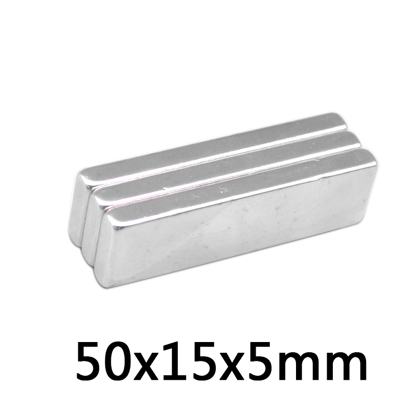 2pc <font><b>50*15*5</b></font> Big Bulk Super Strong Strip Block Magnet Rare Earth Neodymium 50 x 15 x 5 mm N35 free shipping image