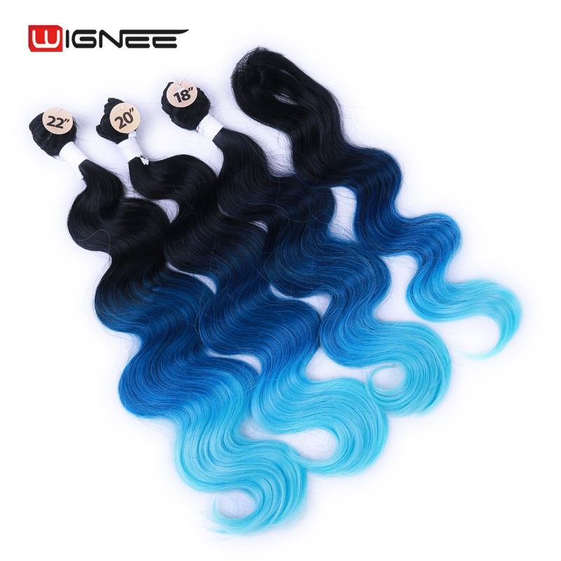 Image 3 - Wignee  Synthetic Hair Extension For Black Women Colorful Hair Bundles With Closure 3 Tone Ombre Color Purple/Blue/Grey HairOne Pack   -