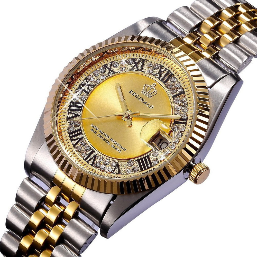 REGINALD Quartz Watch Men 18k Yellow Gold Fluted Bezel Pearl Diamond Dial Full Stainless Steel Luminous Clock
