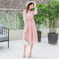 2018 New Vintage Women dress Gentle Wind Dresses Peach Powder 9611