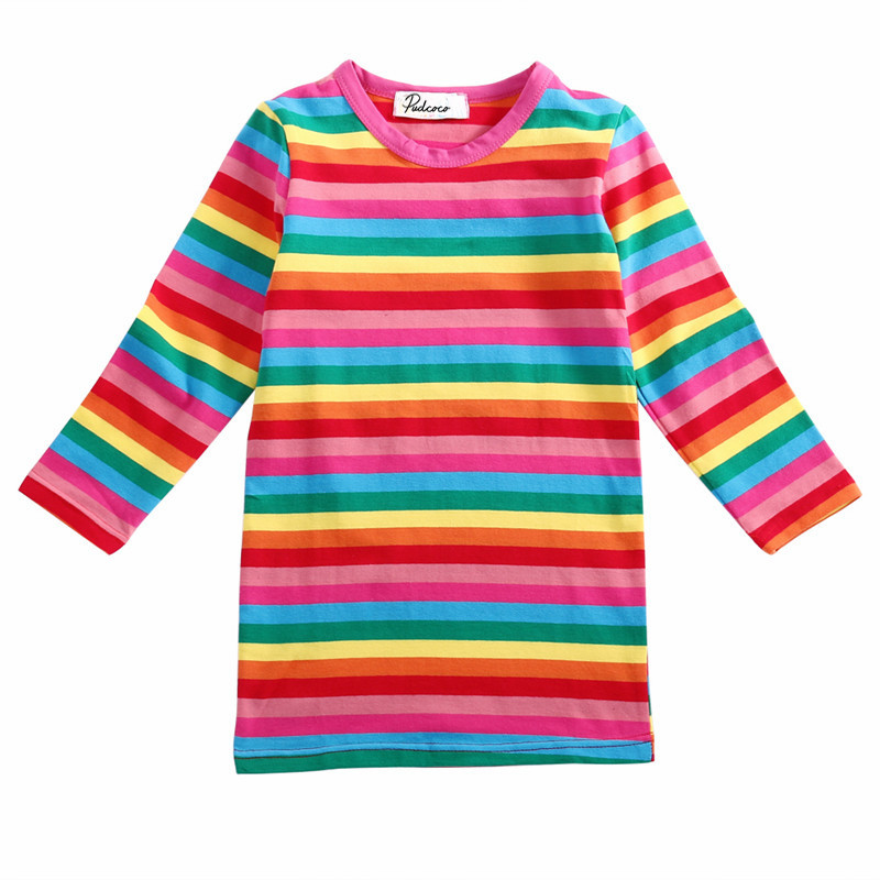 Outfits Dresses Long-Sleeve Rainbow-Girls Baby Autumn Striped Kids Cute Spring Mini 2-7Y