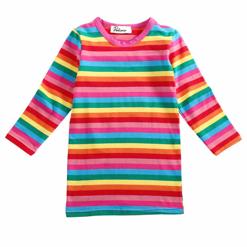 2018 Cute Rainbow Girls Dresses Spring Autumn Baby Kids Striped Dress Clothes Long sleeve Mini Dress Outfits 2-7Y