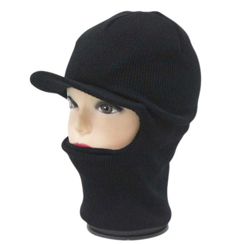 Winter Knit One 1 Hole Visor Balaclava Winter Brimmed Face Ski full face  Mask hat