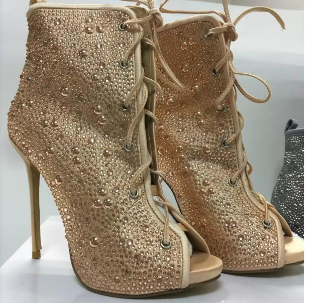 2017 summer hot selling crystal embellished lace-up boots sexy open toe thin heels ankle boots woman gladiator sandal boots pink sequins embellished open back lace up top