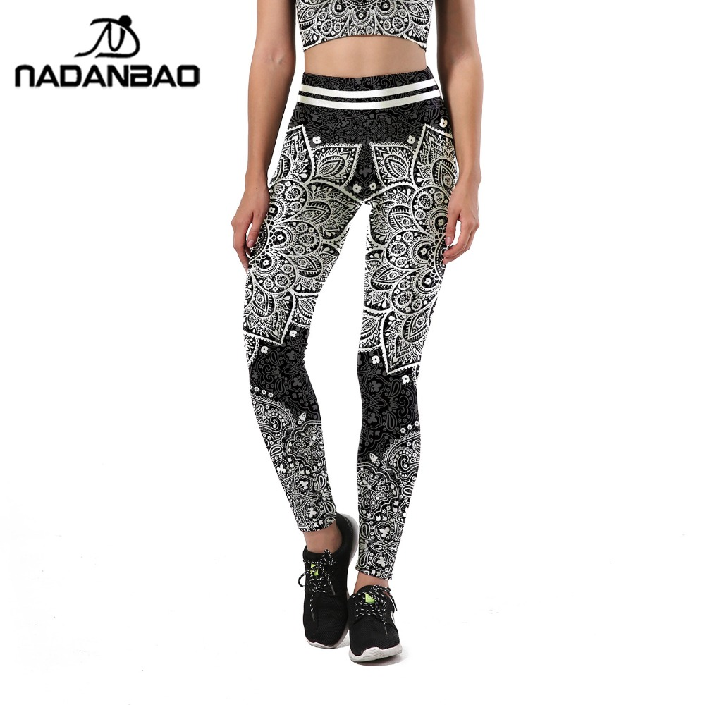 NADANBAO 2019 Aztec Round Ombre Mandala Leggings Women Digital Floral Print Plus Size High Waist Legging Workout Fitness Pants