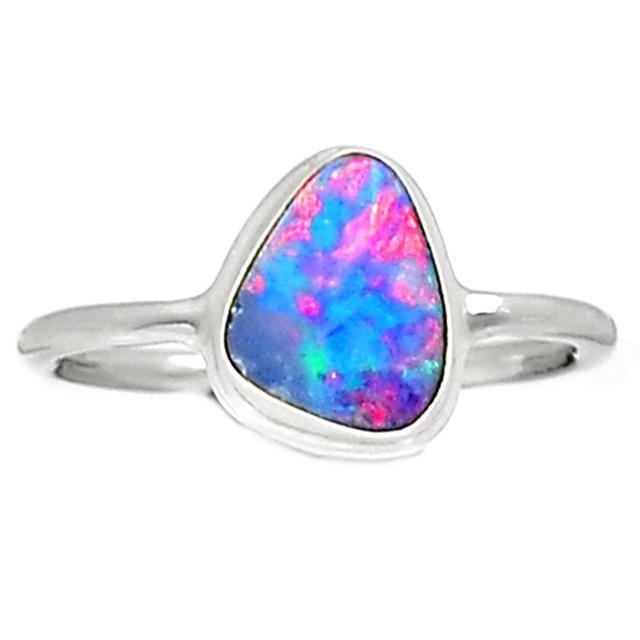 Lovegem Genuine Australian Opal Ring 925 Sterling Silver,Size :8.25, AR1617