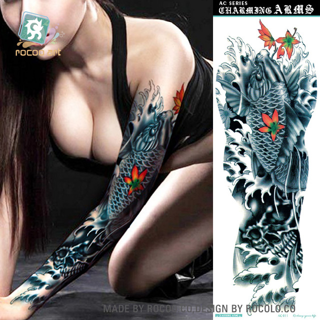 AC-011/2016 New High Quality Coolest Extra Large Temporary Body Tattoos Fake Blue Big Fish with Flower Full Arm Tattoo Sticker