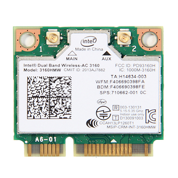 Doble banda 433 Mbps inalámbrico medio Mini PCI-E tarjeta Wifi 3160HMW para Intel AC 3160 tarjeta Wi-Fi Bluetooth 4,0 802.11ac para ordenador portátil
