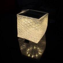 Solarpuff Portable  LED Solar Lantern Outdoor Folding Camping Light Warm Light Compact Cube Solar Flatpackable Inflatable Light
