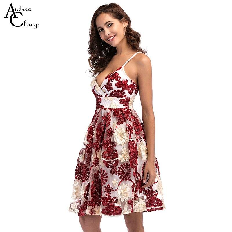 2c76fe36e1 Wiosna lato kobieta sukienka żółty czerwony kwiatowy wzór aplikacja haft  sukienka suknia balowa spaghetti strap party