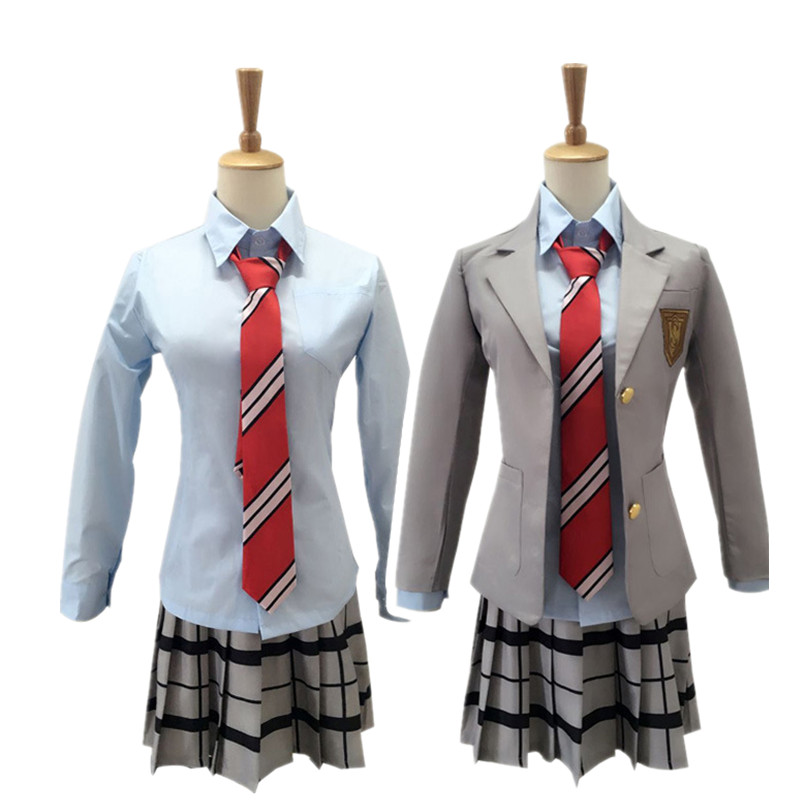 Anime Your Lie In April Miyazono Kaori Cosplay Fashion School Uniform FulL Set Dress+Coat+Skirt for Adult Women Girls Costumes