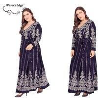 Water's Edge 5xl 6xl Vintage Long Dress 2018 Elegant Plus Size Female Party Office Dress Flower Wrap Big Clothes Large Vestidos