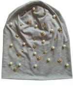 B-17908 gorros de Moda 100% algodón de la buena elástico colores perla y cristal punk metálico del oro cruz sombrero de diseño personalizado