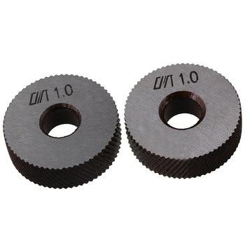 2 piezas de acero plateado herramienta de moleteado Diagonal rueda lineal Knurl 26mm Dia 1mm paso