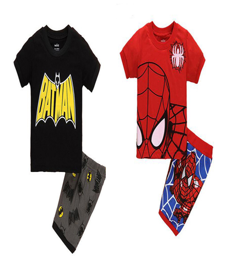 summer Toddler pajamas set cartoon Anime Spiderman printing t shirt+Pants Suits fashion Boys girls pajamas brand clothes for kid