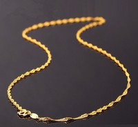 Hot sale 999 Solid 24K Yellow Gold Chain Necklace/ Singapore Chain Necklace/ 2.4g