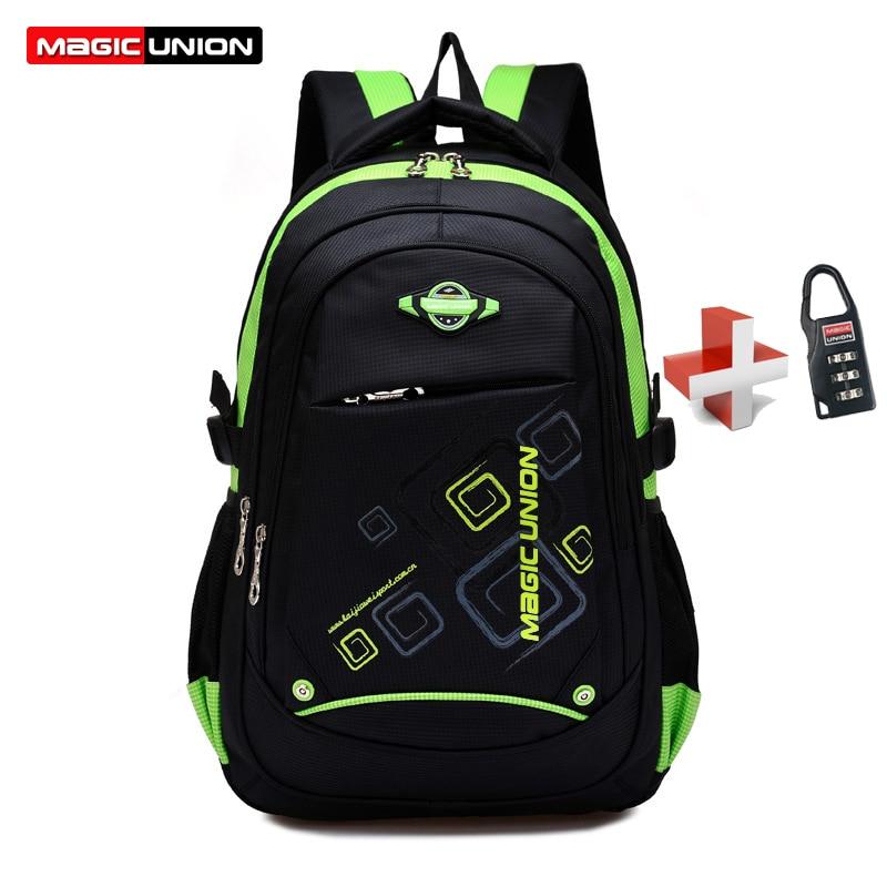 Backpack Lock School-Bags Magic Union Waterproof Children with Zip Infantil