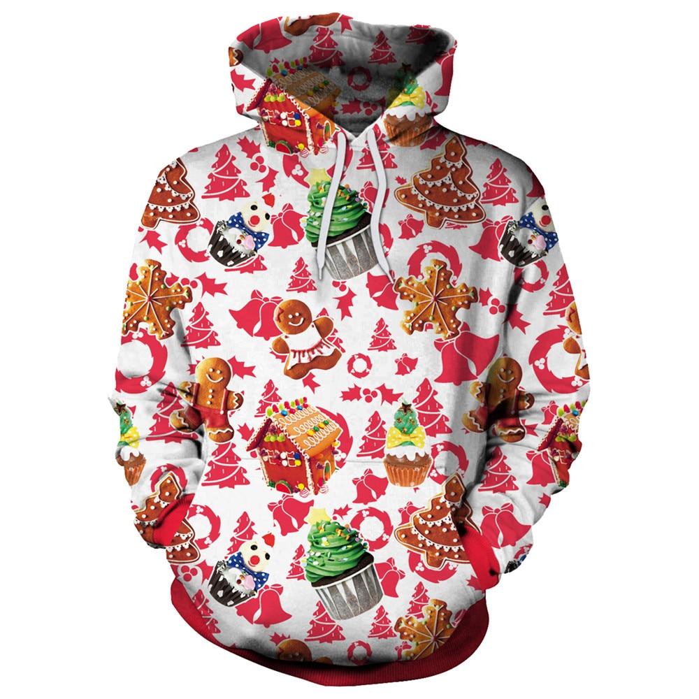 [EL BARCO] Men Women 3D Pattern Christmas Hoodie Winter Cotton White Yellow Red Female Casual Hooded Coat Slim Sweatshirt kawaii