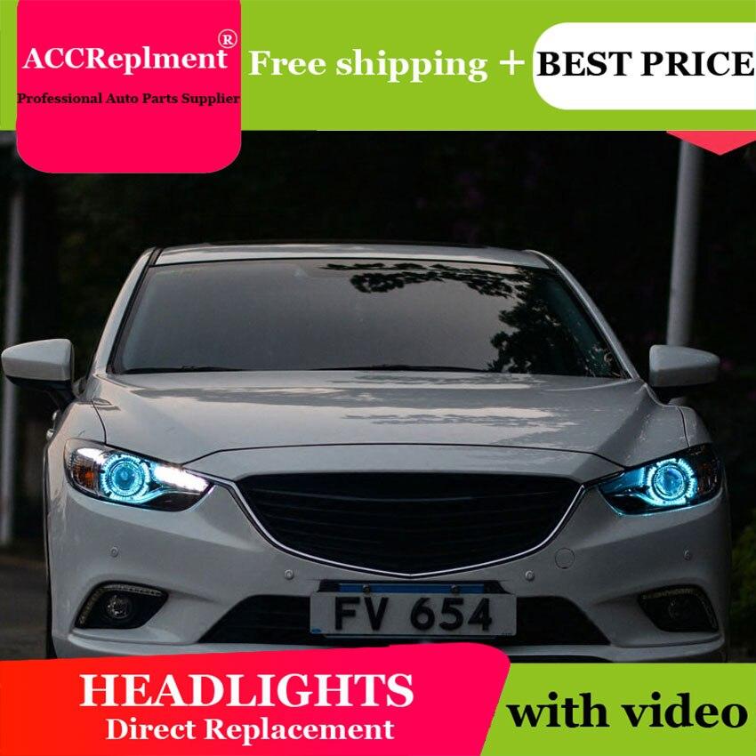 Style de voiture pour ATENZA phares U angel eyes 2014-2015 pour ATENZA lumière LED bar Q5 bi xenon lentille h7 xénon projecteur LED ampoule