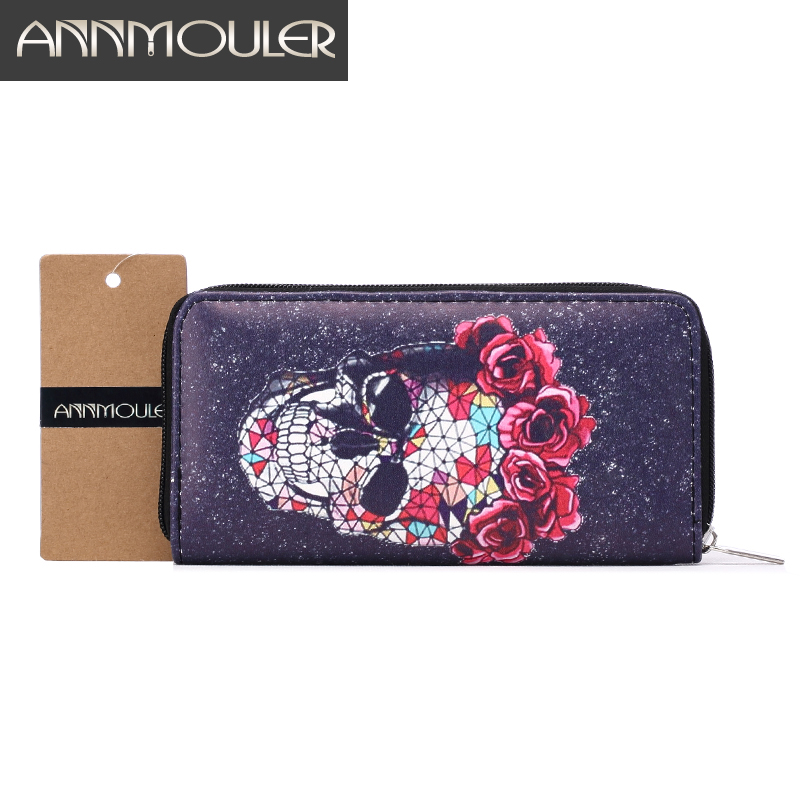 Fashion Women Wallet Pu Leather Long Size Purse Skull Print Clutch Bag Female Coin Card Holder Dollar Bag Zipper ID HolderPocket dollar price women cute cat small wallet zipper wallet brand designed pu leather women coin purse female wallet card holder