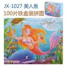 Železná krabice 100 kusů 28 * 22cm velká dřevěná deska puzzle děti včasné vzdělávání fidget hračky mořská panna princezna dinosaurus žába