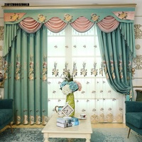 Curtains for Living Dining Room European Embroidery Nordic Blackout Curtains for Bedroom Balcony windows curtain valance villa